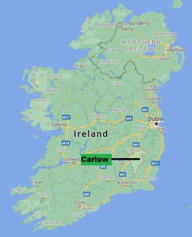 Carte comté Carlow Irlande
