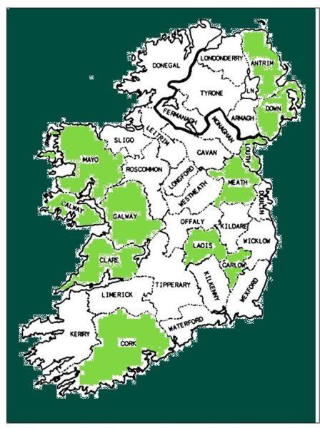 Tour d'Irlande carte Interviews réalisées au 16062021