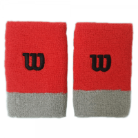 Wilson Extra Wide Tennis Wristbands x 2 (Red-Grey)
