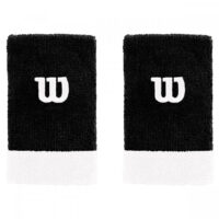 Wilson Extra Wide Tennis Wristbands x 2 (Black / White)