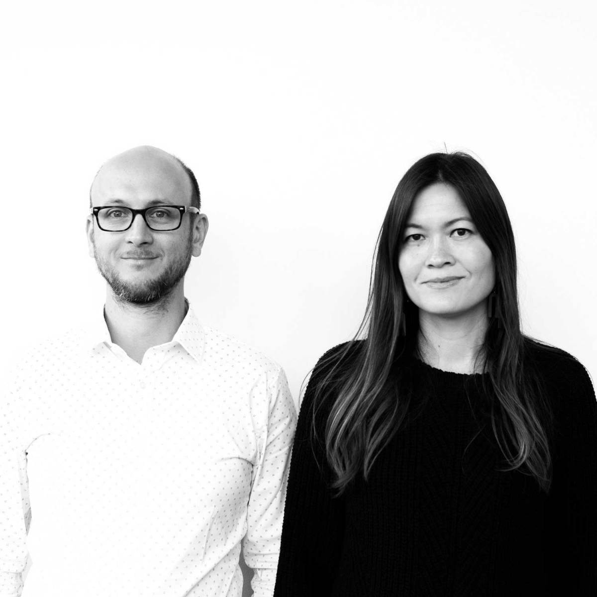 Black-and-white portrait of the artists Kelley and Jonathan Murphy