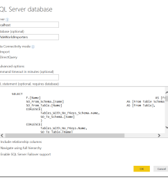 expand the advanced option in this dialog and enter the following sql query  [ 1066 x 988 Pixel ]