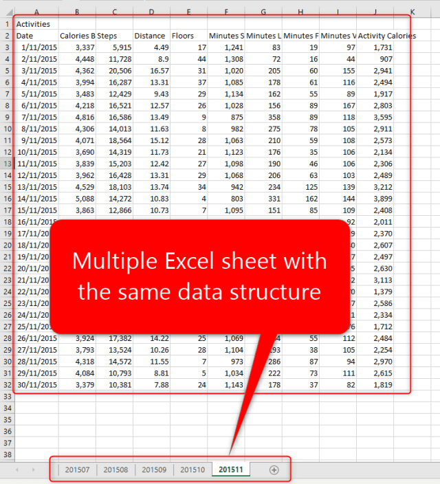 Merge different excel files into one