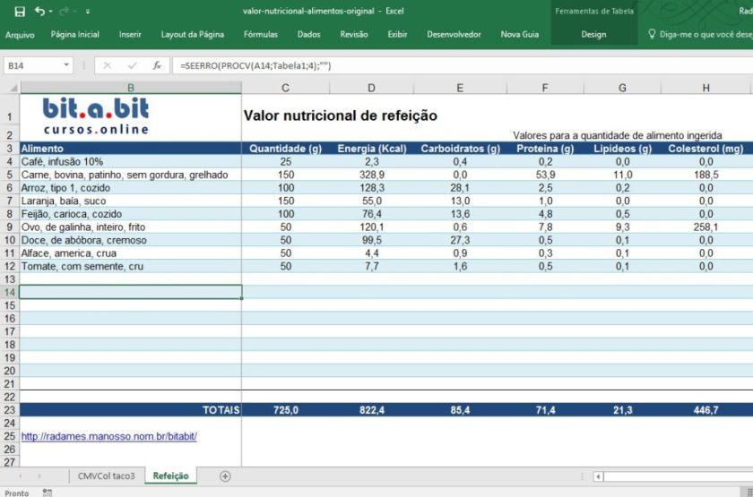 valor nutricional de refeições no Excel