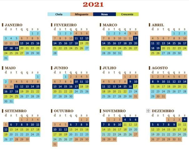 Calendário de fases da lua colorido 2021