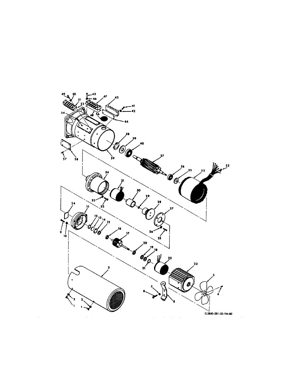 Figure 5-11. Azimuth drive motor, exploded view.