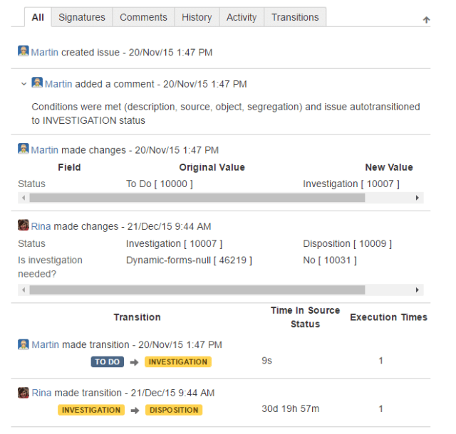 JIRA generates a log of all the changes in the lifecycle of each issue