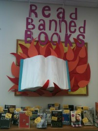 This book is on fire: Banned Books display! | Rad Books ...