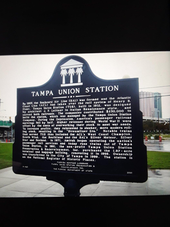 Plaque Tampa Union Station