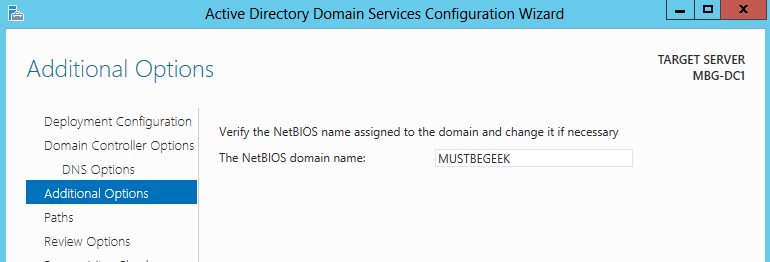 NetBios Windwos server 2012 R2