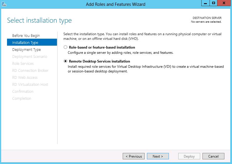remote desktop services instalace