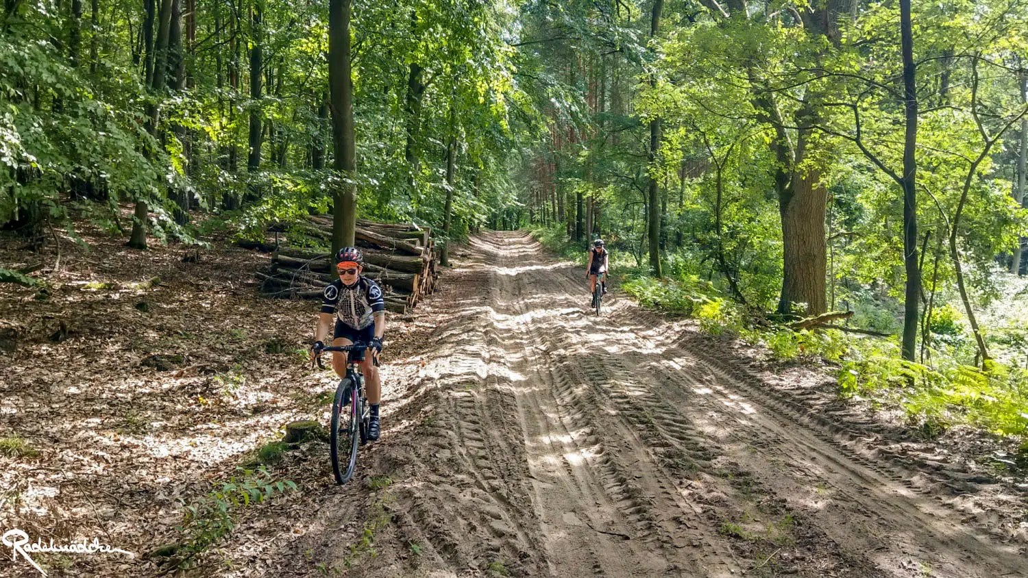 cyclists on sand in the woods