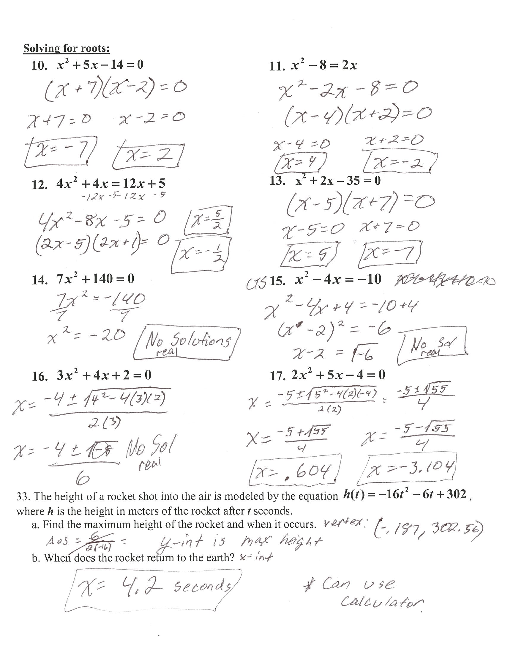 Algebra 1 Quadratic Test Review Answer Key