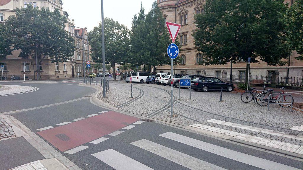 Geschützter Kreisverkehr in Bamberg