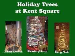 Trees made of books, lights, and recycled pallets won awards at the 'Holiday Trees & Gingerbread Houses in Kent Square' event. Sixteen trees are on display til Jan 4, 2018.