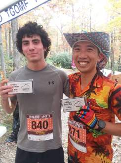 Mitch Dolby (left) was the top finisher in the 12-mile part of the Brush Mountain Breakdown. Jordan Change (right) was second.