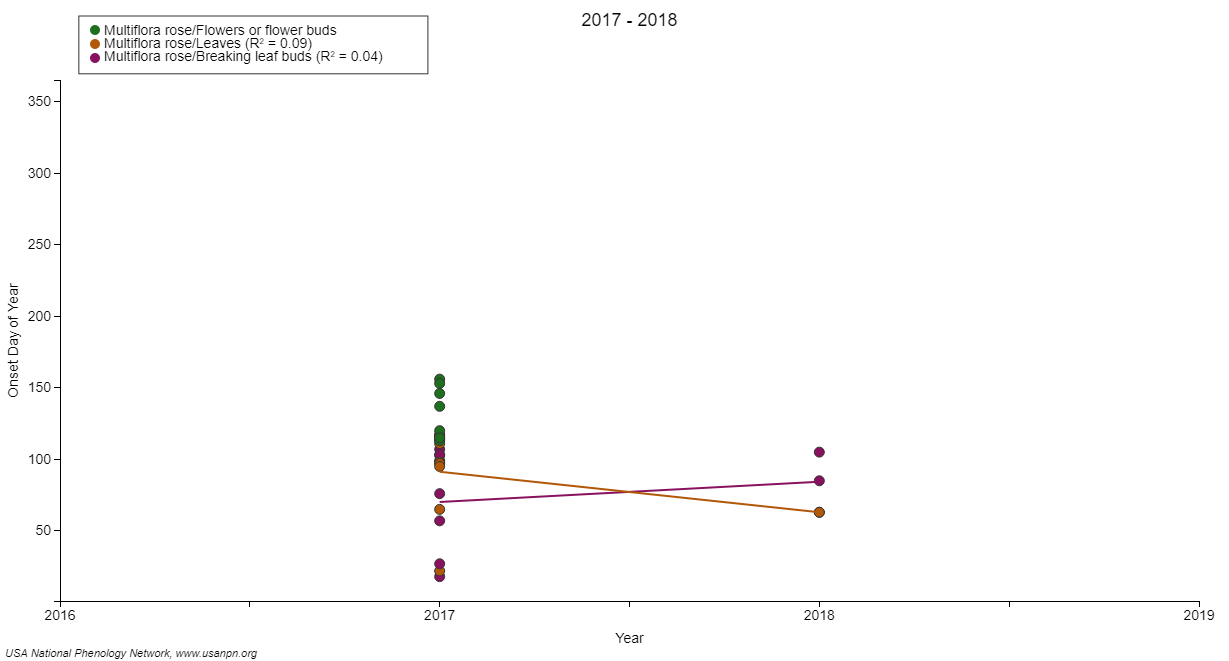 hight resolution of figure 2 invasive plant species such as amur honeysuckle and multiflora rose scatter plot for breaking leaf buds leaves and flower buds between 2017 and