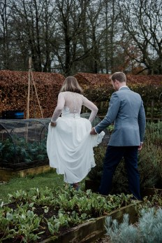Bride and Groom in the gardens of Askham Hall, Cumbria