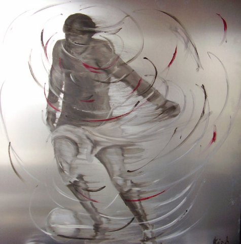 Soccer player in motion (oil on Aluminum)