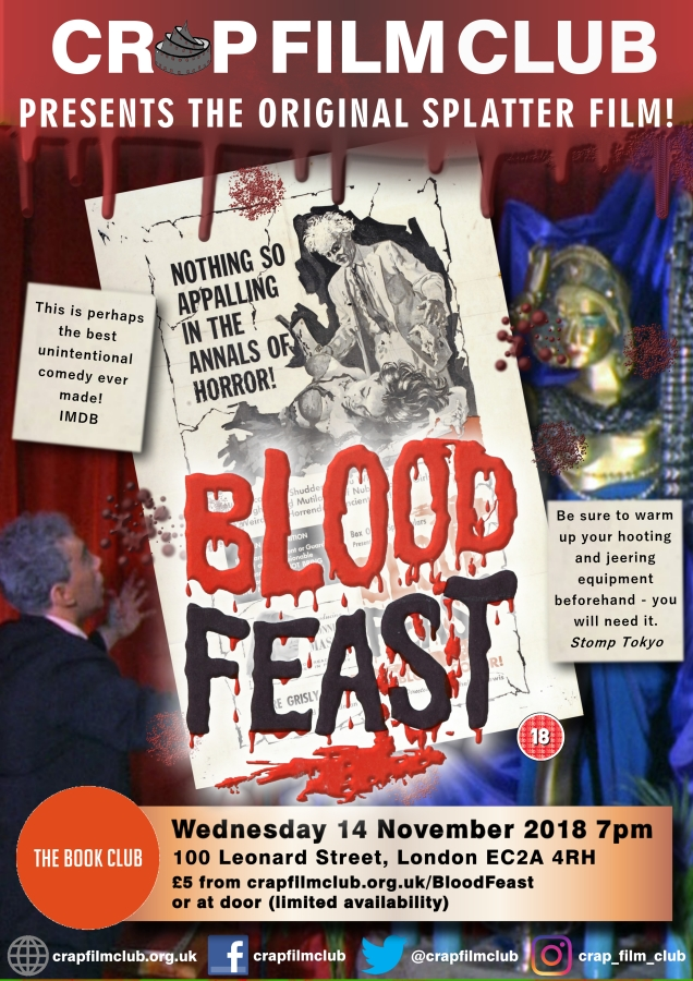 Films in London: BLOOD FEAST at The Book Club (14 NOV).