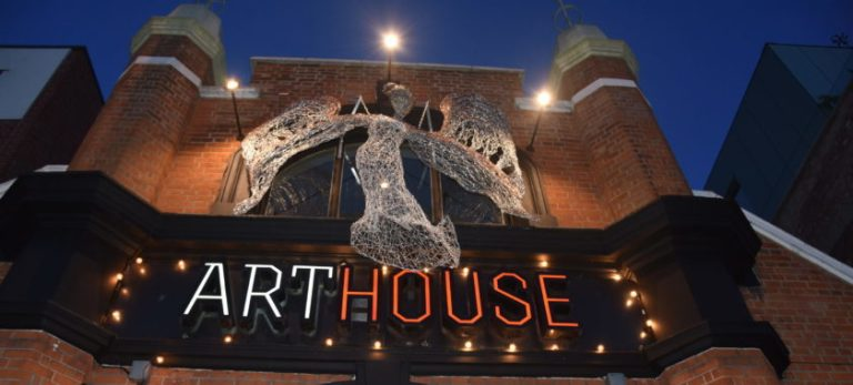 This is a photograph of the ArtHouse Angel, a new sculpture by Julia Clarke installed on the front of the ArtHouse Crouch End Cinema in North London.