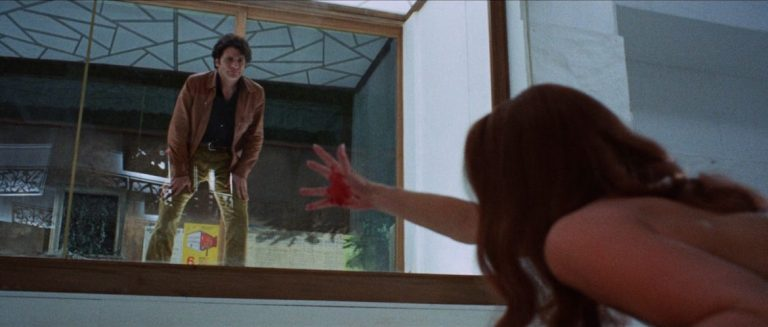 This is a film still from Dario Argento's THE BIRD WITH THE CRYSTAL PLUMAGE (1970).