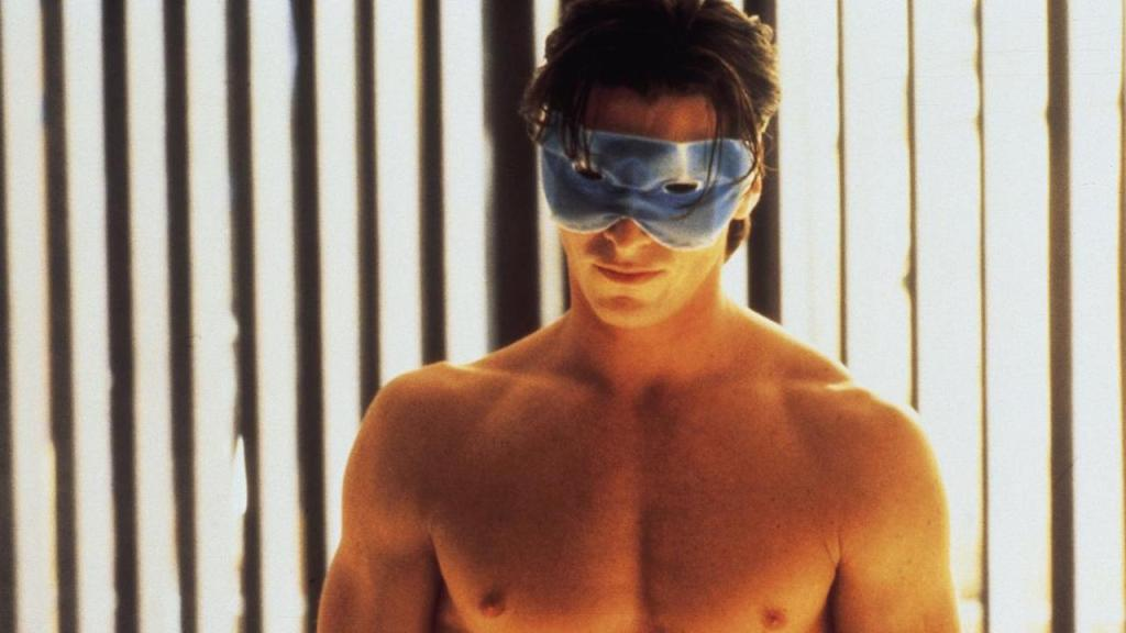 This is a film still from AMERICAN PSYCHO (2000) which screens at Bar Elba, Waterloo SE1.