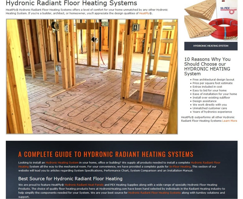 Hydronic Heating  Best Source for Hydronic Heating System