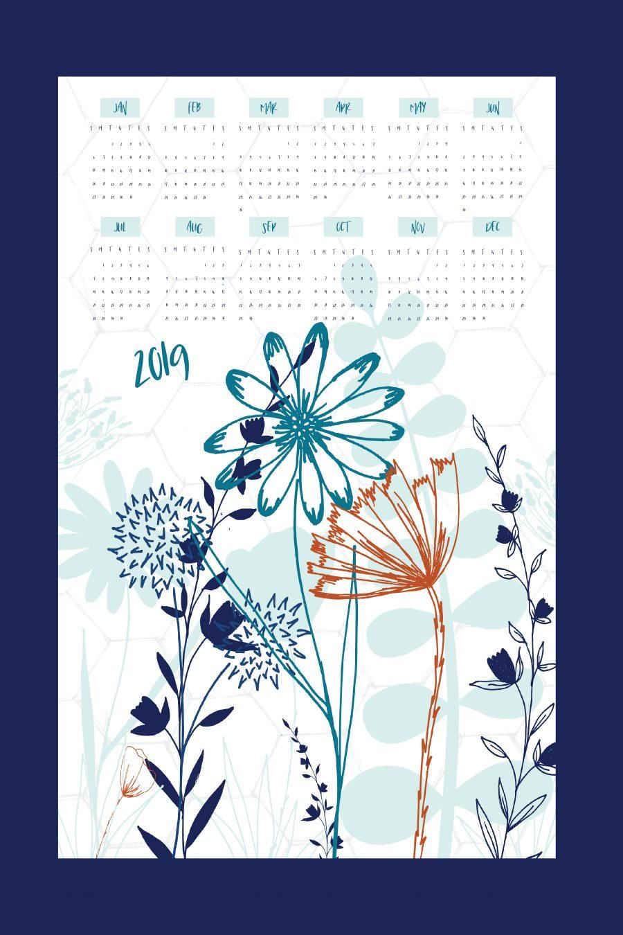 2019 Wildflower Tea Towel Calendar   Radiant Home Studio