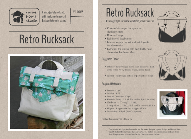 Retro Rucksack Pattern | Radiant Home Studio
