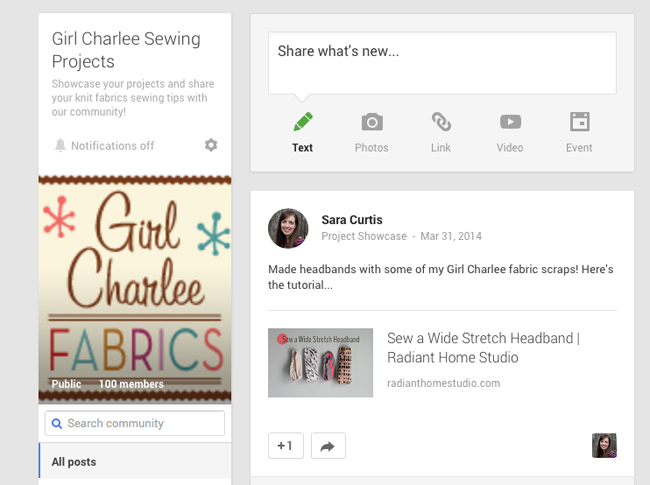 Share Your Sewing Projects with G+ | Radiant Home Studio