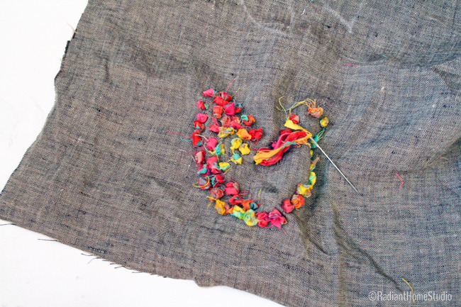 Fabric Scrap Embroidery Tutorial {Heart Wall Art} | Radiant Home Studio