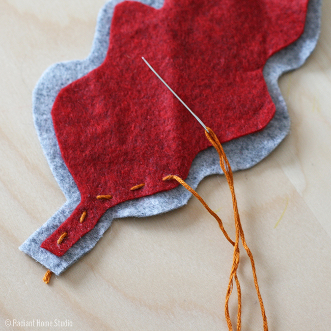 Felt Embroidered Autumn Leaves Tutorial and Free Pattern Template | Radiant Home Studio