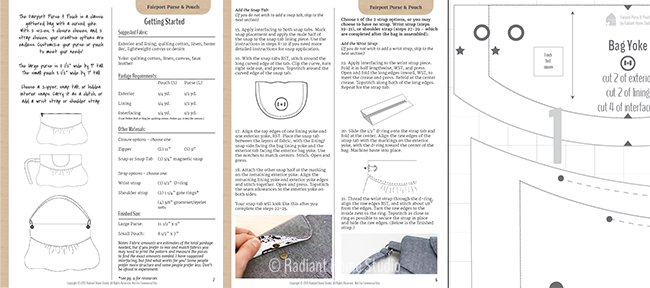 Fairport Purse & Pouch Sample Pattern Pages | Radiant Home Studio