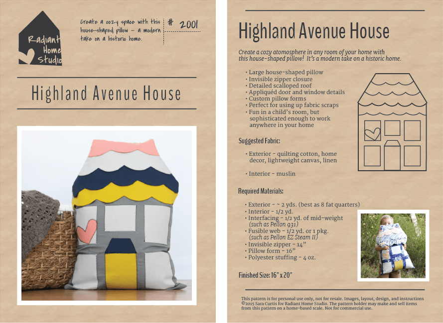 Highland Avenue House Pillow Pattern | Radiant Home Studio