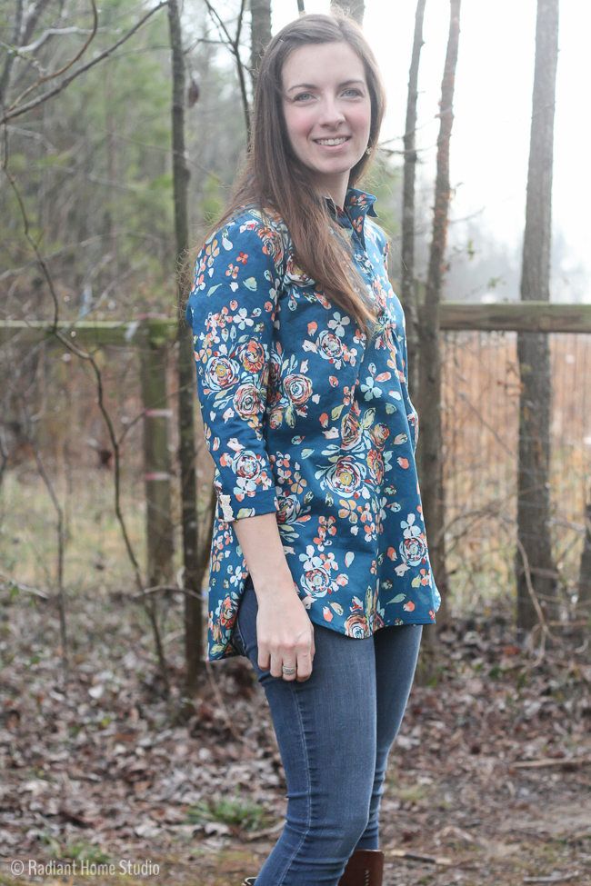 Liesl & Co Floral Gallery Tunic with Hand Stitched Details | Radiant Home Studio