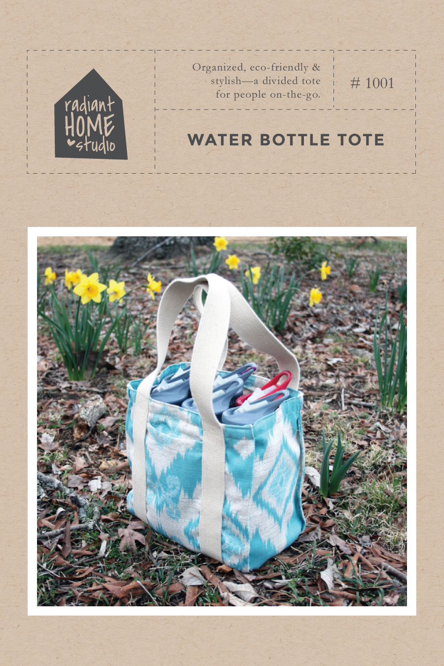 Water Bottle Tote sewing pattern | Radiant Home Studio
