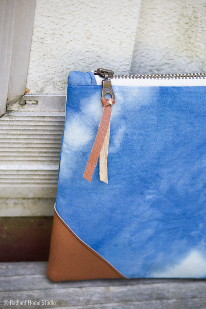 Shibori Indigo Dyed Zipper Pouch | Radiant Home Studio