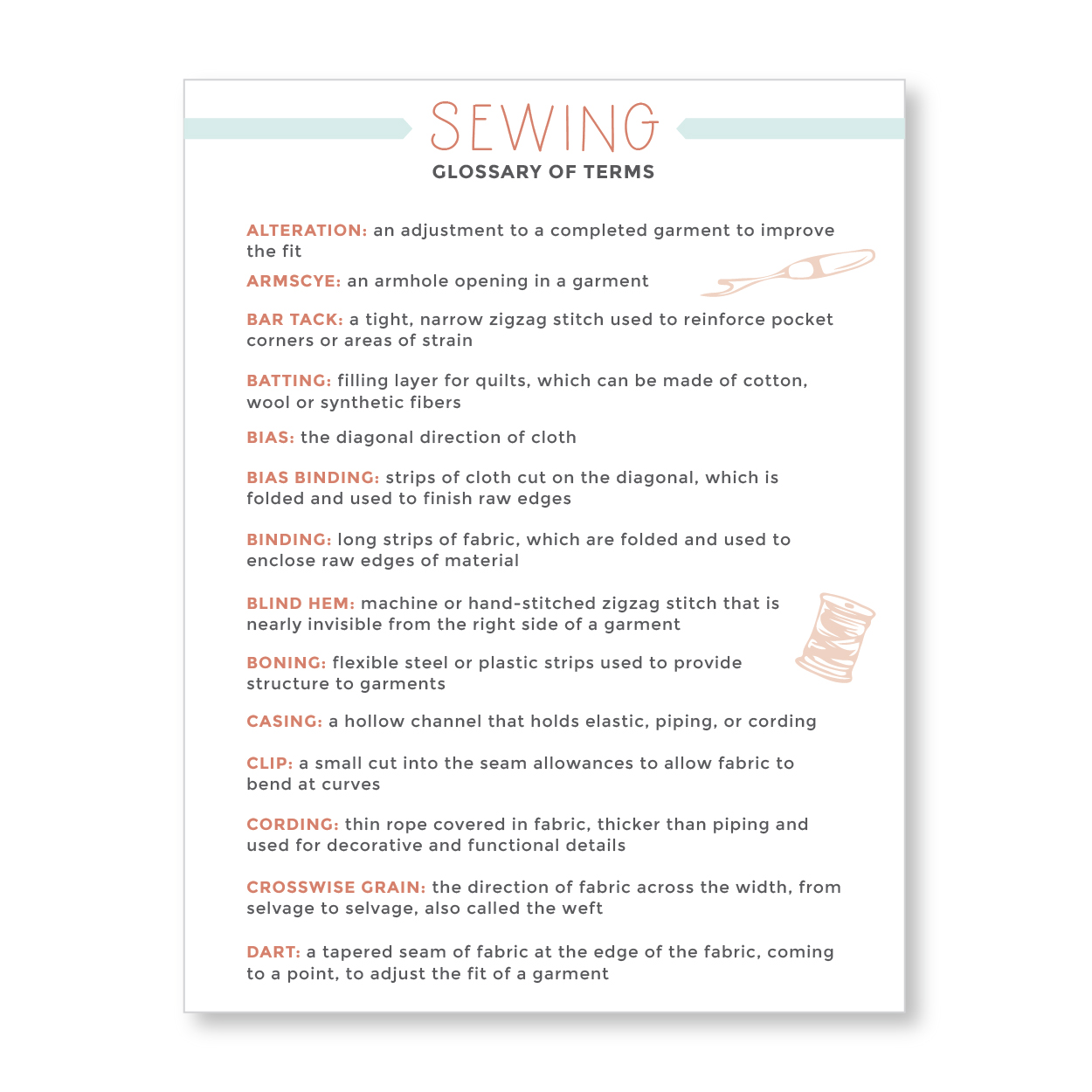 Sewing Glossary of Term | Radiant Home Studio
