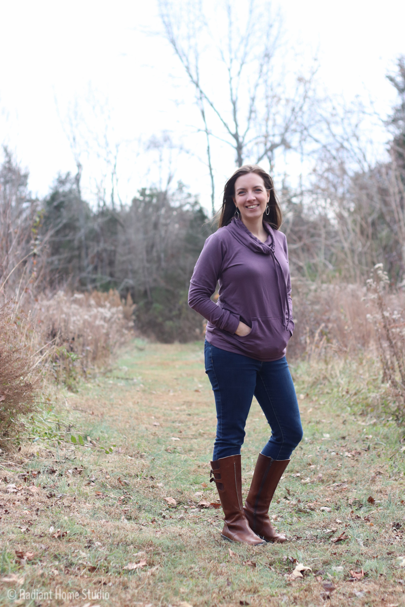 Purple Halifax Hoodie with Funnel Neck | Hey June Sewing Patterns | Radiant Home Studio
