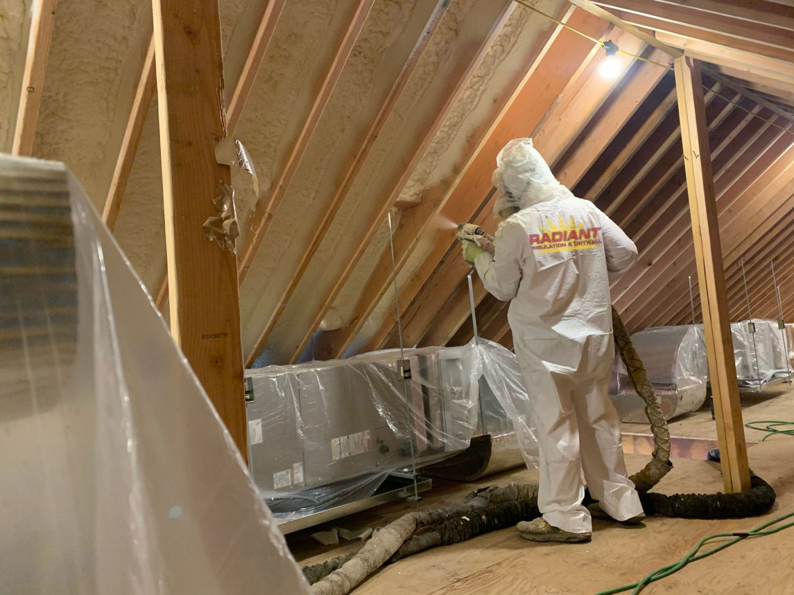 Closed-cell spray foam insulation application