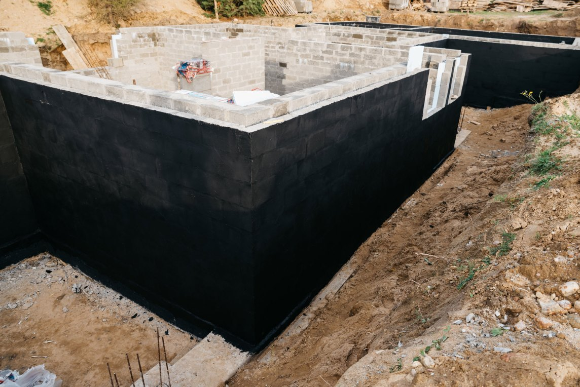waterproofed home foundation