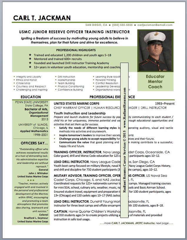 Military Resume Example Military Resume Example Sample Military  Sample Military Resume
