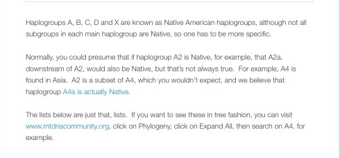"From: ""Native American Mitochondrial Haplogroups, Roberta Estes, DNAeXplained-Genetic Genealogy, Sept. 18, 2014"