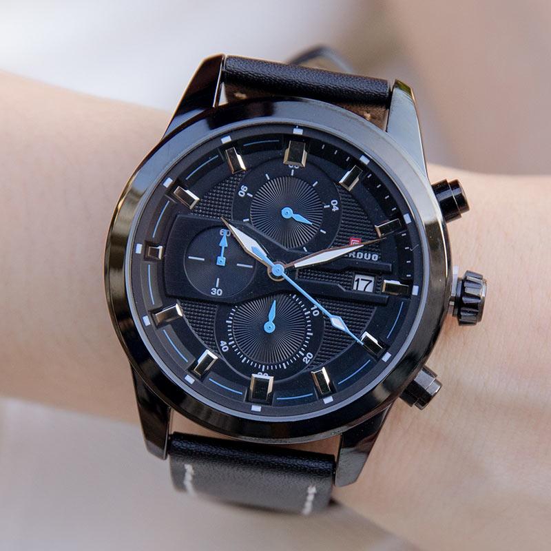 FAERDUO 競速追風真三眼日期顯示真皮手錶【WFA8268】-Radiant star‧璀璨之星-流行手錶飾品領導品牌