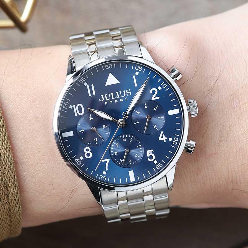 正韓JULIUS紳士之夜真三眼日期星期顯示金屬鋼片鍊帶手錶【WJAH116】-Radiant star‧璀璨之星-流行手錶飾品領導品牌