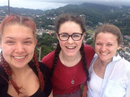 Wind at the top of the White Buddah overlooking Kandy city centre.