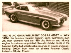 ac ghia willment cobra 427 GT 1967-73 john willment 1000