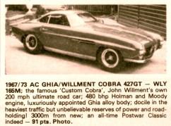 ac ghia willment cobra 427 GT 1967-73 john willment 1000