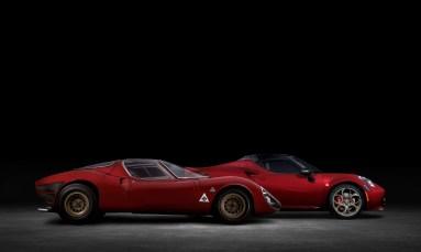 2020 Alfa Romeo 4C Spider 33 Stradale Tributo alongside the legendary 1967 33 Stradale